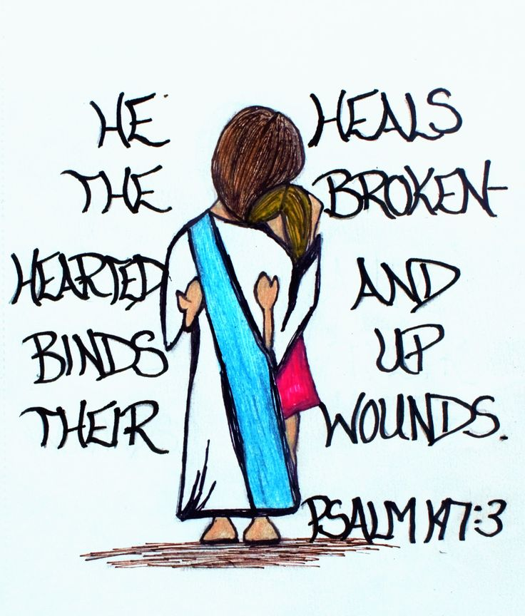 """He heals the brokenhearted and binds up their wounds."" Psalm 147:3 (Scripture doodle of encouragement)"