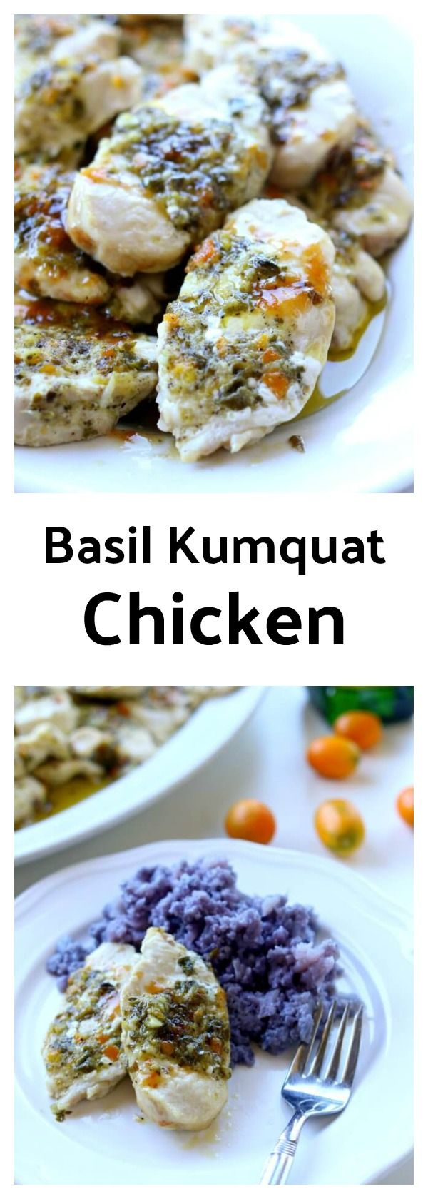 """Basil Kumquat Chicken with Purple Cauliflower Mash–this elegant meal contains just 5 ingredients! Olive oil, fresh basil, kumquats, chicken and purple cauliflower (and salt and pepper, but I'm not counting that as an """"ingredient""""). Who knew that such simple ingredients could come together and make such a flavorful dinner?"""