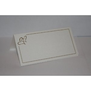 pack of 50 ivory with gold heart wedding day place name cards