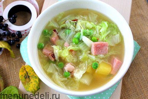 Рецепт супа с пекинской капустой и копченостями / Меню недели