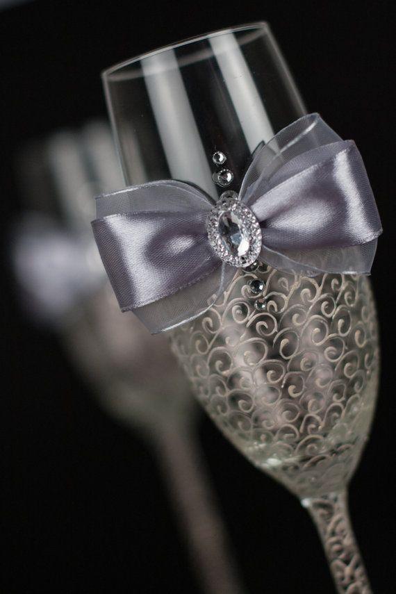 LACE / marfil y plata flautas (gris) Vidrios de la boda / champán / vasos de cristal swarovski / de la boda para las bodas nupciales del partido / de encaje