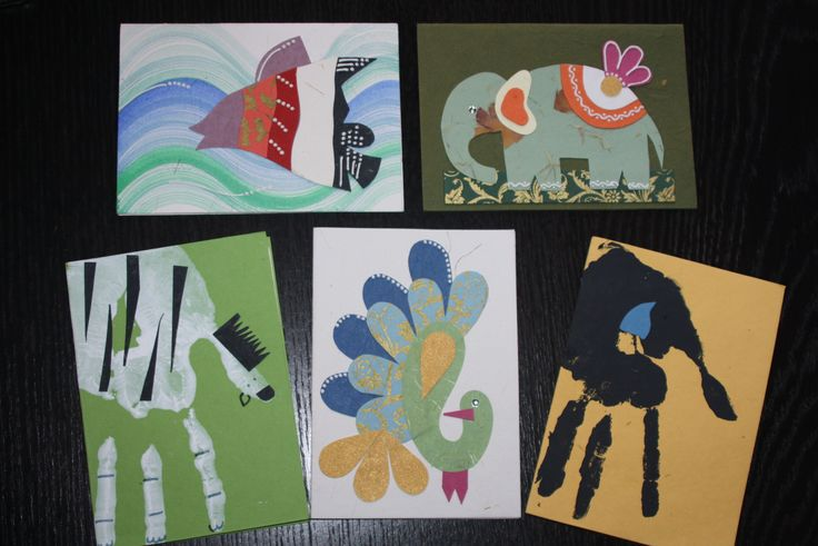 Handmade 'imprint' animal cards - perfect for kids! Made by the Earn n' Learn initiative  www.arushi.co.uk