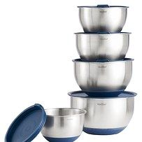 Stainless steel, anti-slip mixing bowls with measurements on the side and dual-purpose lids.