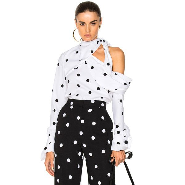 Monse Polka Dot Blouse (14.518.125 IDR) ❤ liked on Polyvore featuring tops, blouses, strappy top, spaghetti-strap tops, drape top, dot top and knot top
