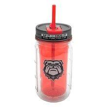 16-oz Georgia Mason Jar Water Bottle, Brown straw
