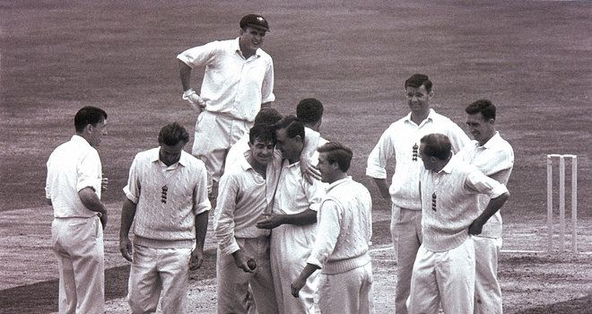 Fred Trueman of England celebrates taking his 300th Test Wicket during the Fifth Test against Australia
