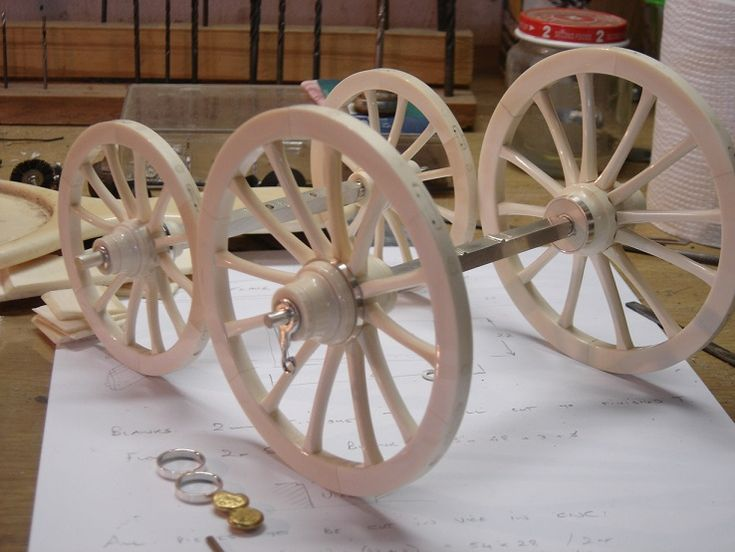 Model Cannon Wheels made from ivory, sterling silver and gold for a French Cannon.