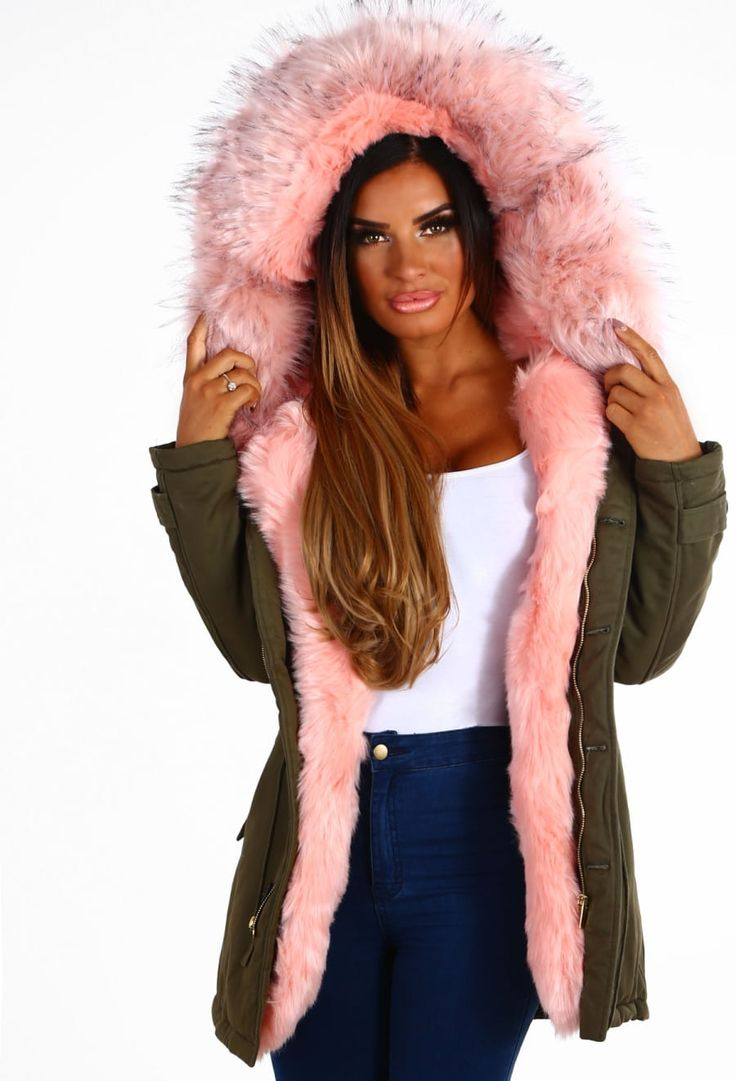 Melted Kisses Khaki and Pink Faux Fur Hooded Parka | Pink Boutique