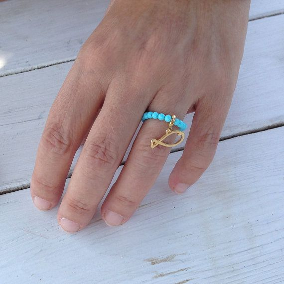 Turquoise Ring Stretch Beaded Ring Gold Fish by PiscesAndFishes