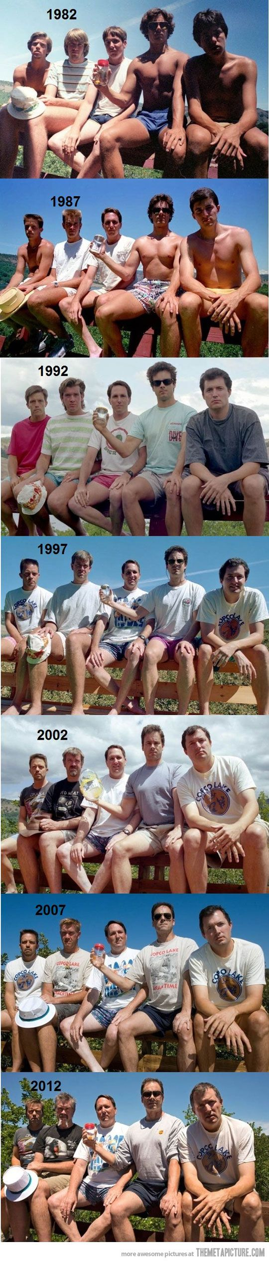 We need to start doing this :) Group of friends take a picture every 5 years…
