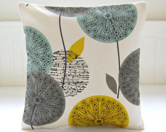 teal grey mustard dandelion cushion cover, flower pillow cover 16 inch