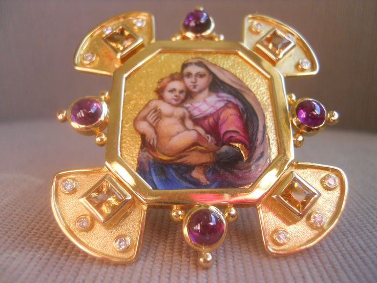 """Madonna mia"" clip-pendant-icon with stand. Enamel miniature in silver, framed in 18k yellow gold. Citrines, tourmalines,diamonds. Unique."