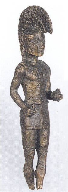 Laconian warrior statuette in bronze, from the sanctuary of Apollo Korythos at Longa, Messenia. ca 540-520 BCE
