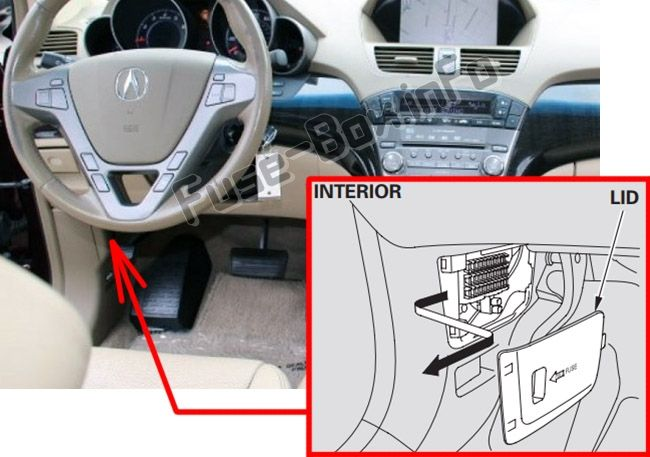 The Location Of The Fuses In The Passenger Compartment Acura Mdx Yd2 2007 2013 Fuse Box Acura Mdx Acura