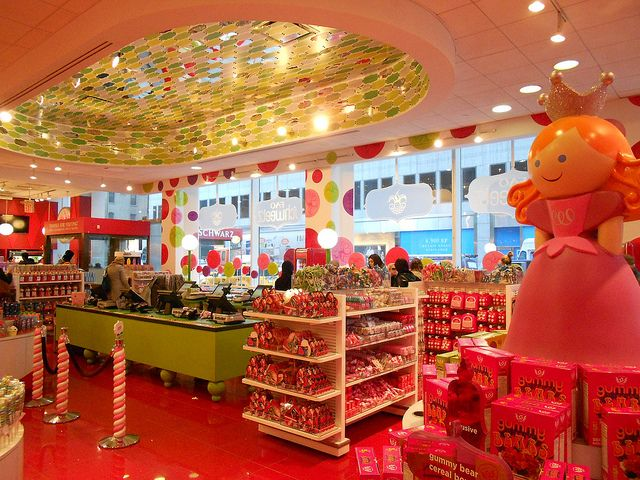 Candy store at the entrance of the F.A.O schwarz toy store in Manhattan