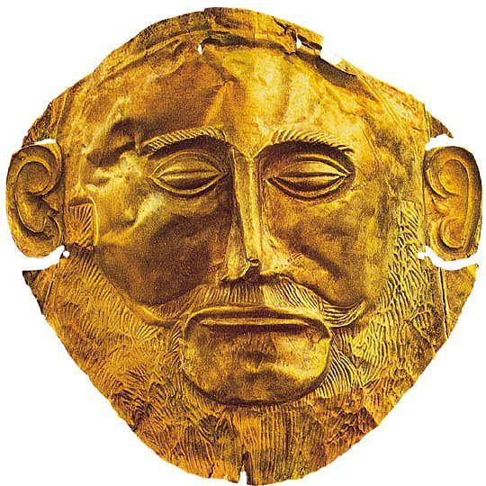 """Maschera funebre (di Agamennone)"" - II millennio a.C. Micene. Oro a sbalzo. Trovata da Heinrich Schliemann. Conservata al Museo Archeologico Nazionale, Atene"