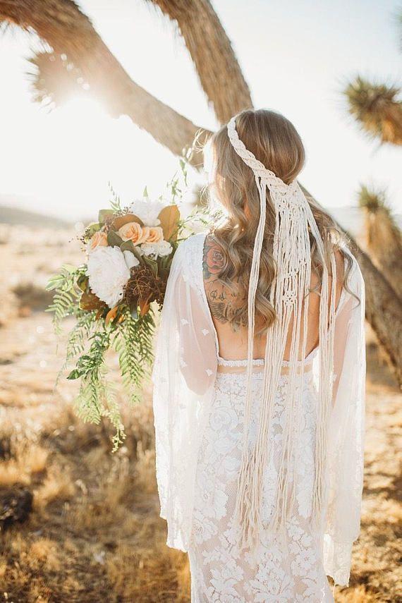 Makramee Hochzeit Schleier Boho Hochzeit Schleier Hochzeit Kopfschmuck   – Wedding Dresses