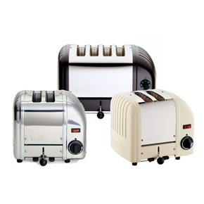 Dualit toasters were designed for the professional kitchen in the 1950's but today they're just as popular for the home kitchen. Vario models enable the user to select which slots are in use.  Made in Britain of cast metal alloy.