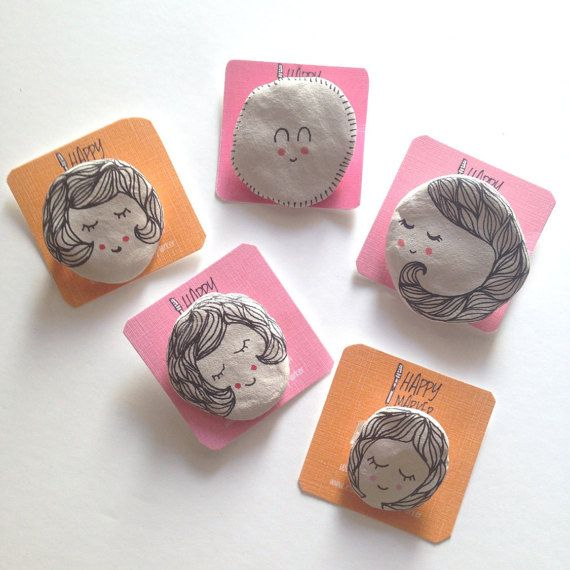 Handmade Clay Brooches by Happy Marker on Etsy #handmade #clay #brooch #cute #pin #girl #ghost #doodle #drawing #kawaii #pretty