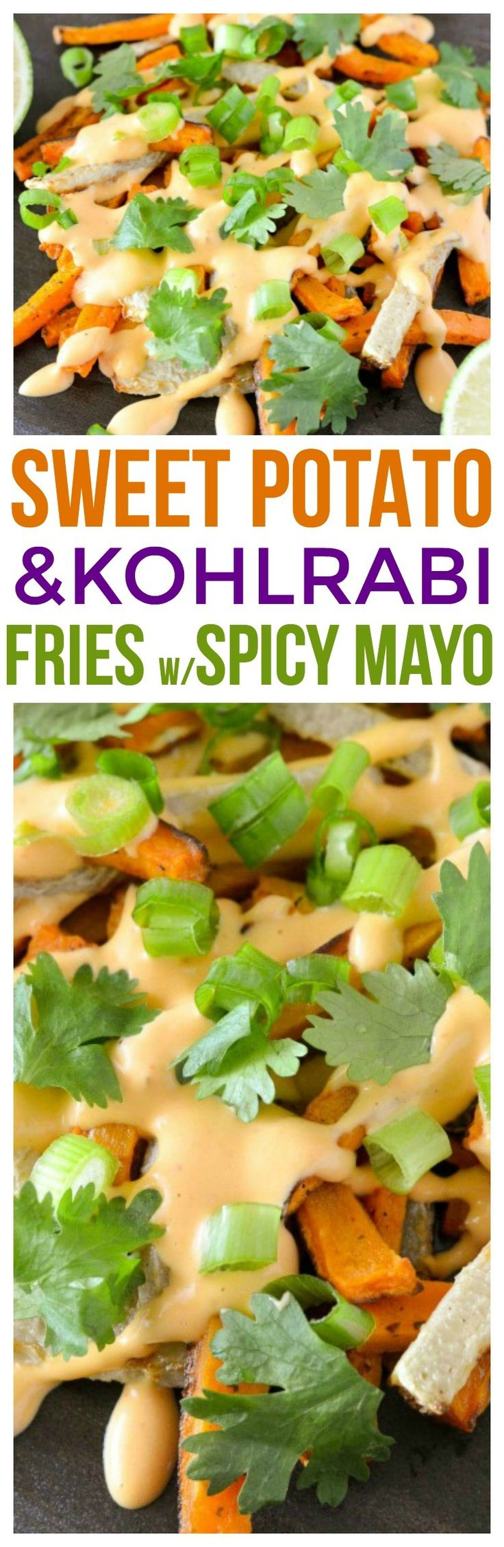 Make this tasty recipe of sweet potato fries baked and kohlrabi fries! we pair it with a homemade spicy mayo recipe and this is a great way to use kohlrabi if you're looking for kohlrabi recipes.  via @KnowYourProduce