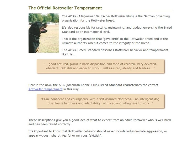 The official rottweiler temperament
