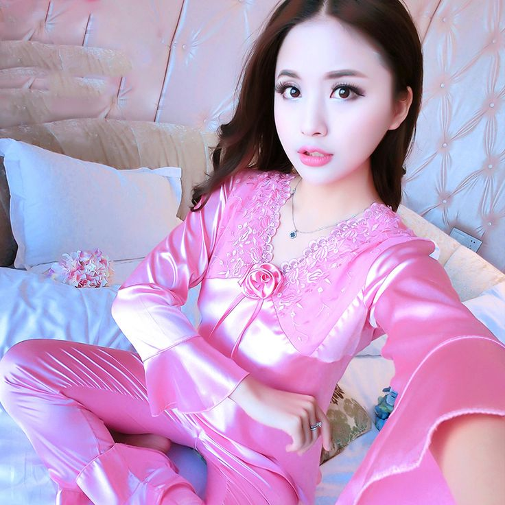 Women Sexy pijama Sleepwear Spring Autumn Silk Pajamas Nightgown pyjamas women Lace Nightwear For Ladies #Affiliate