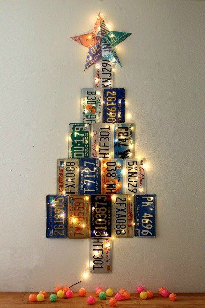 s 20 fake christmas trees you ll wish you d seen sooner, christmas decorations, repurposing upcycling, seasonal holiday decor, Lit Up License Plates