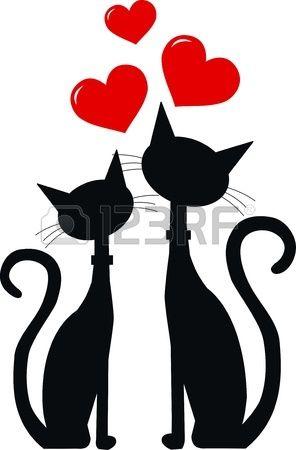 deux chats noirs dans l'amour Banque d'images