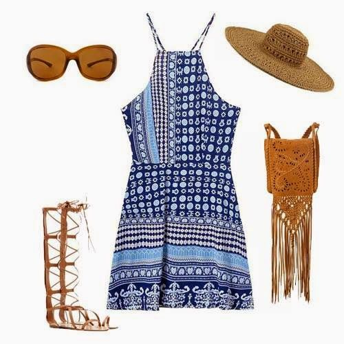Nitted Hand Bag, Tribal Seleve Less Dress, Hat, Flate Long Shoes   Outfit