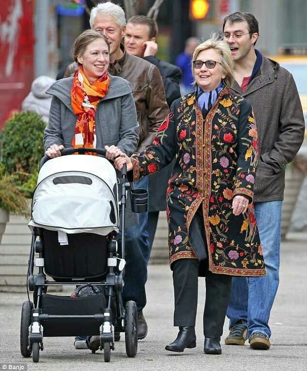 Former First Lady Hillary Clinton and Former President Bill Clinton and  daughter Chelsea