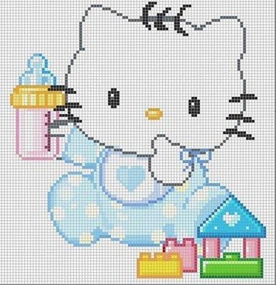 Hello Kitty baby hama perler beads pattern