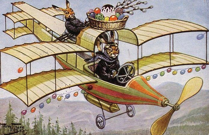 OSTERN HASE im DOPPELDECKER FLUGZEUG TSN Arthur THIELE 1926 SEHR RAR !!!