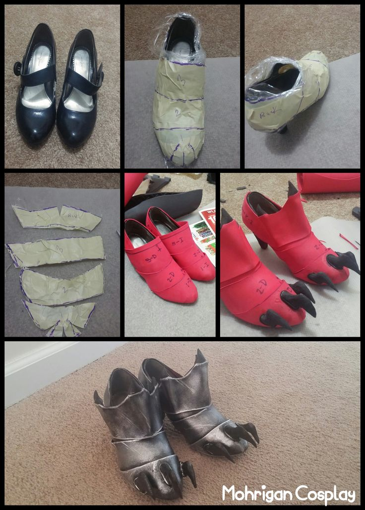 Armored Shoes My page: www.facebook.com/m.cosplay 1. Wrap the shoes with plastic wrap (Saran Wrap). 2. Cover it with masking tape and make the patterns, then cut them. 3. Glue them to the shoe. I used to use hot glue but they will end up falling so...