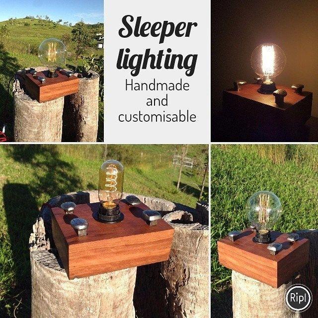 Sleeper Lamps. Made from railway sleepers and rail pins #interiordesign #bespoke #lighting #lamps #customisation #edisonbulbs #beamorfinedesign