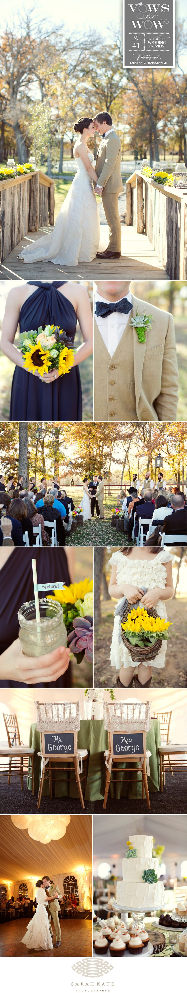 What's not to love about Katie and Chris's backyard ranch wedding! With the help of  of Jordan Payne Events, the couple's vision came to life with everything from the bright southern inspired florals from Jordan Payne Events and delicious food from Gil's Elegant Catering to the cake from Sugar Bee Sweets and paper elements from Southern Fried Paper. After a beautiful ceremony, guests moved to the reception under a large white tent lit by Beyond. Photos by Sarah Kate, Photographer