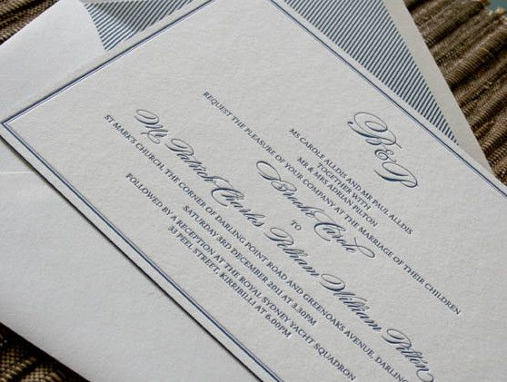 Letterpress wedding stationery. Our 'Classique' design. Letterpress printed in blue ink on our super thick 600gsm paper. Custom lined envelopes.