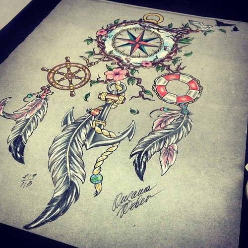 This is actually a really pretty tattoo idea, with a dreamcatcher, anchor…