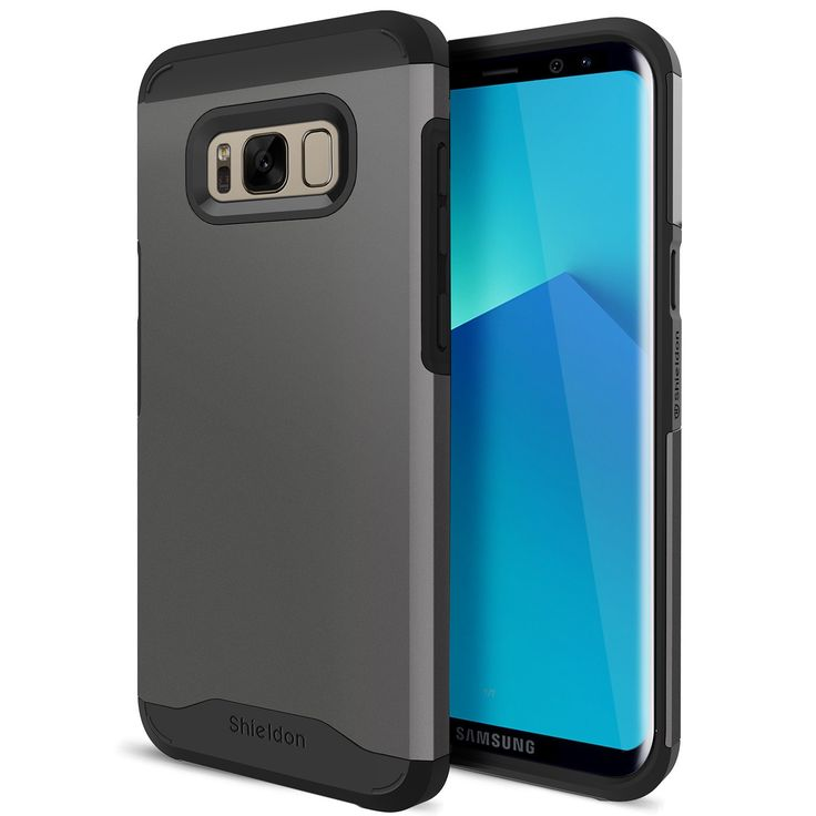 """Galaxy S8 Case, Samsung Galaxy S8 Case, SHIELDON Detachable Dual Layer Shock-Absorption Full-Body Protection with Flexible Inner Case [Mountain Series] for Samsung Galaxy S8 (5.8"""") - Gunmetal. FULL-BODY PROTECTION - Provides full protection for Samsung Galaxy S8 phone, 4 thickened TPU cushion corners ensure your phone against drops and bumps; Raised edges and the 4 extra 1MM Raised Pads on the bottom of the TPU case to protect the screen, camera and the slim hard back case from scratches…"""