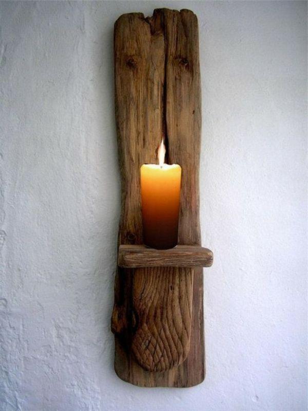 kerze kerzenhalter aus treibholz an die wand aufhängen - Wunderbare Treibholz…