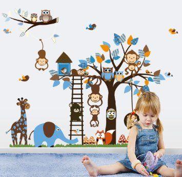 Jungle forêt animal singe, l'écureuil et le swing de hibou jeu sur des feuilles colorées Arbre Sticker mural Wall Sticker: Amazon.fr: Bébés & Puériculture