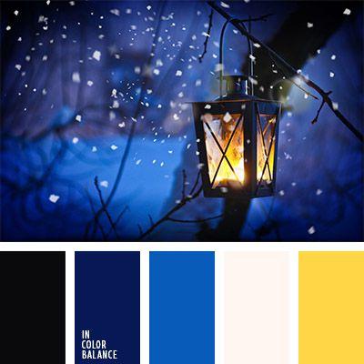 amarillo, amarillo neón, azul medianoche, azul neón, azul oscuro y amarillo, azul turquí, azul ultramar, color de las luces, color fuego de vela, combinación de colores para invierno, elección del color, matices del azul oscuro, negro y azul oscuro, paleta de colores invernales, selección de