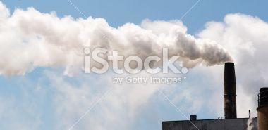 Paper Mill Smokestack White Smoke Blue Sky Royalty Free Stock Photo