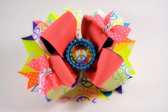 Peace sign stacked hair bow  5.5 / Boutique / Stacked /