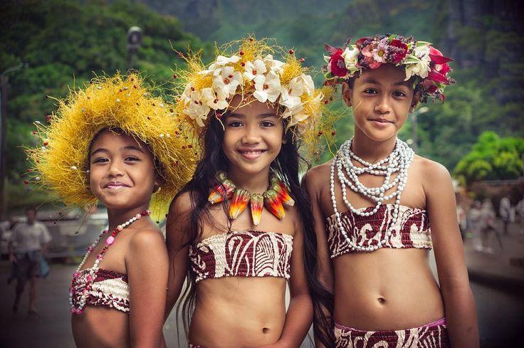 Marquesas Islands young girls Hanavave bay Fatu Hiva island. . .