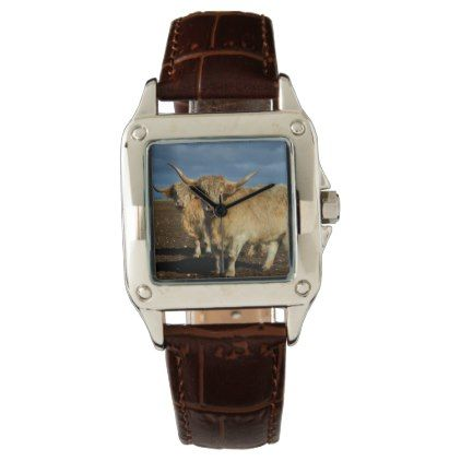 Fawn Coloured Highland Cows Wrist Watch - animal gift ideas animals and pets diy customize