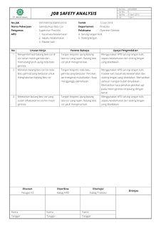 Contoh Job Safety Analysis (JSA) / Job Hazard Analysis