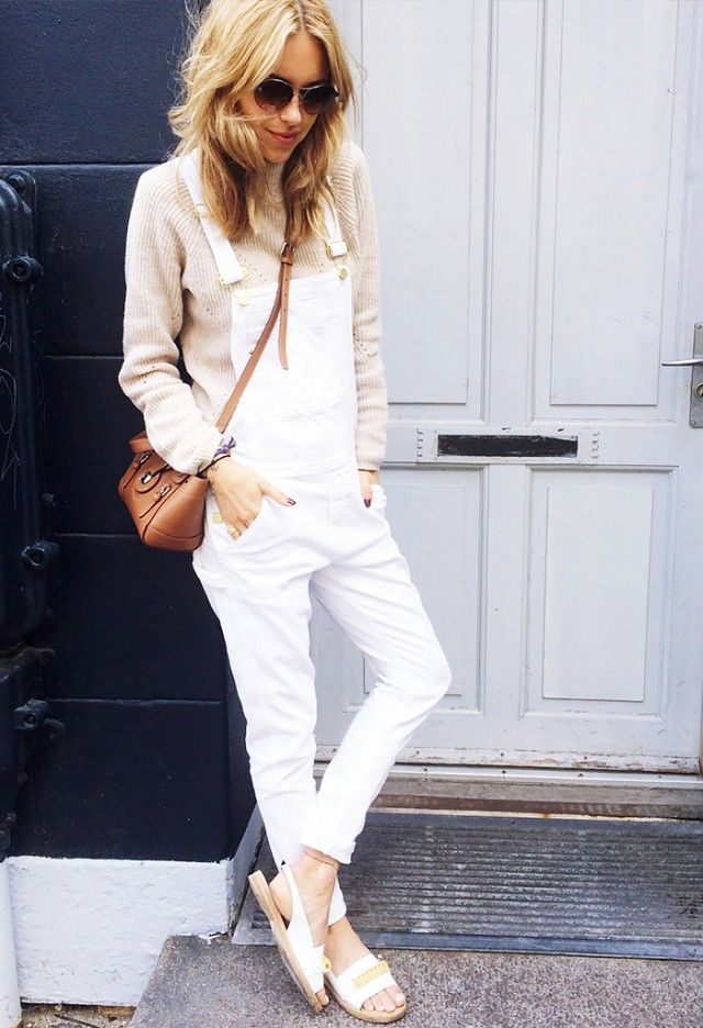 White overalls sweater street style