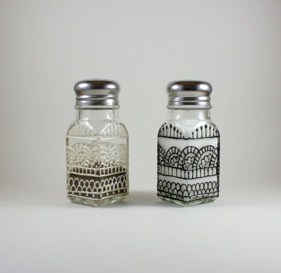 Salt and Pepper Shaker Set / Lace/Henna by ImpulsiveCreativity