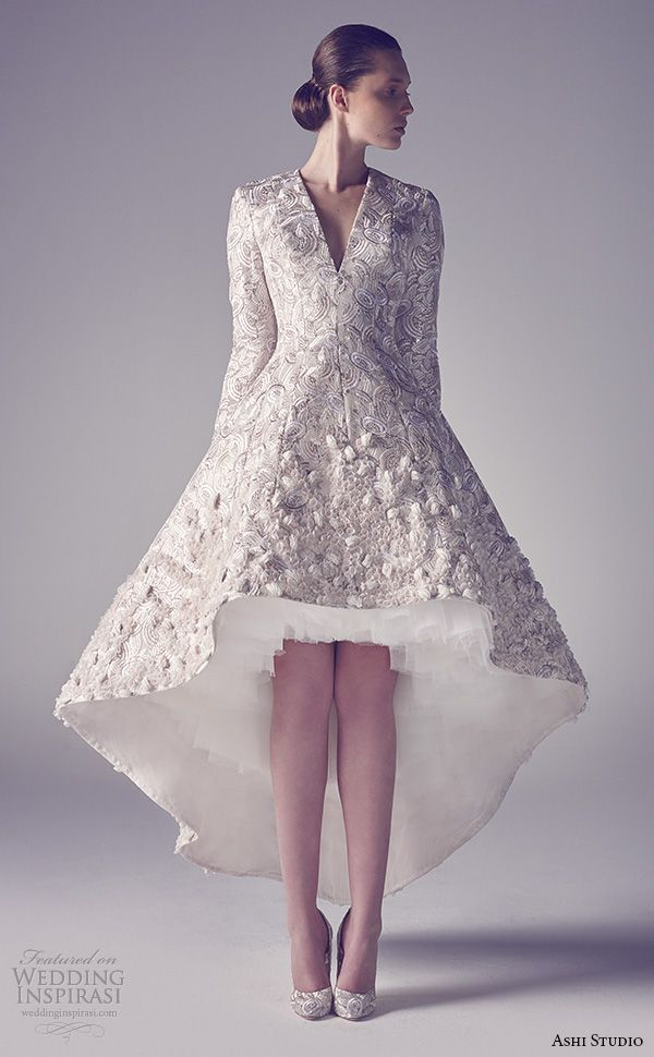 ashi studio couture 2015 v neckline long sleeves embroidery high low short wedding dress