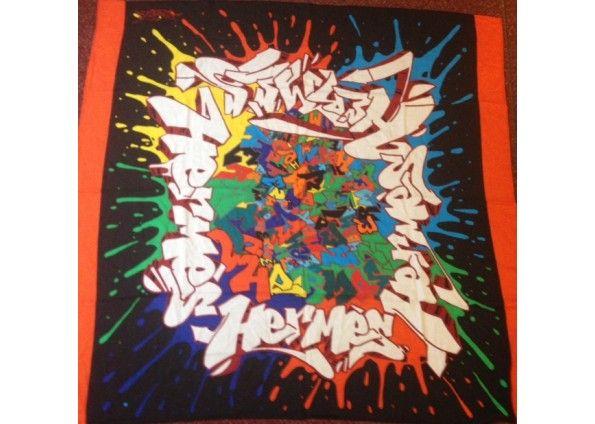 """Hermès Cashmere GM Shawl """"Graff"""" or """"Graffiti"""" in Black by Cyril Phan"""